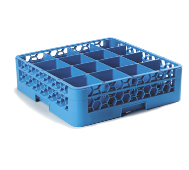 "Carlisle RG16-114 OptiClean™ Dishwasher Glass Rack, 16-compartments (4-7/16"" x 4-7/16"") with (1) extender, full-size, polypropylene, textured finish, blue, NSF, NSF"