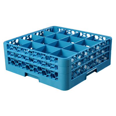 "Carlisle RG16-214 OptiClean™ Dishwasher Glass Rack, 16-compartments (4-7/16"" x 4-7/16"") with (2) extenders, full-size, blue, NSF"