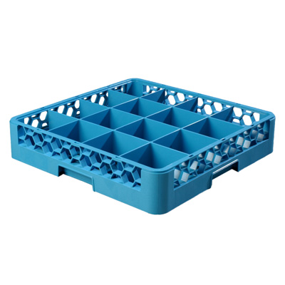 "Carlisle RG1614 OptiClean™ Dishwasher Glass Rack, 16-compartments (4-7/16"" x 4-7/16""), full-size, blue, NSF"
