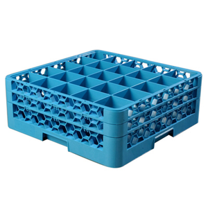 "Carlisle RG25-214 OptiClean™ Dishwasher Glass Rack, 25-compartments (3-1/2"" x 3-1/2"") with (2) extenders, full-size, blue, NSF"
