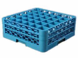 "Carlisle RG36-214 OptiClean™ Dishwasher Glass Rack, 36-compartments (2-15/16"" x 2-15/16"") with (2) extenders, full-size, blue, NSF"