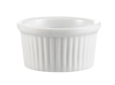 "CAC China RKF-6 Ramekin, 6 oz., 3-1/2"" dia. x 1-3/4""H, round, fluted, 3dz Per Case"