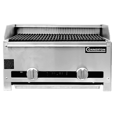 "Connerton RLRB-23-12L-S Charbroiler, countertop, gas, 12""W, lava-rock with cast iron bottom grates, cast iron top grates,  28,000 BTU, NSF, CSA"