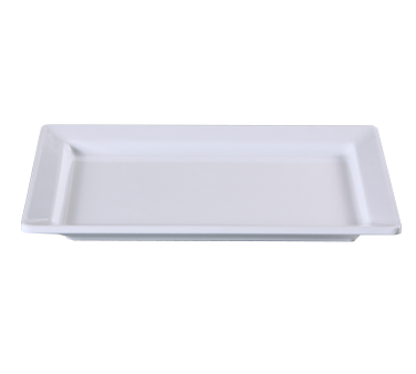 "Yanco RM-4312 Rome Display Plate, 12""L x 8-1/2""W, rectangular, deep, melamine, white"