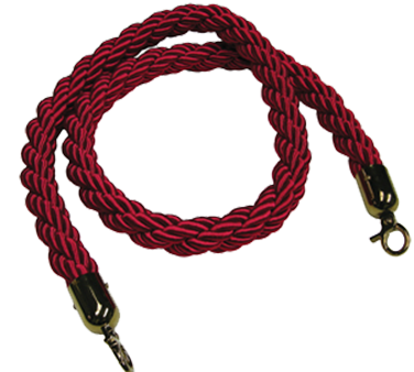 "Crown Brands ROS-RPE/RD Update International™ - Stanchion Rope, 62"" long, with gold finished hooks, twisted nylon, red"