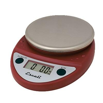San Jamar SCDGP11RD Escali 11 Lb Round Digital Scale With Removable Platform, Warm Red, NSF