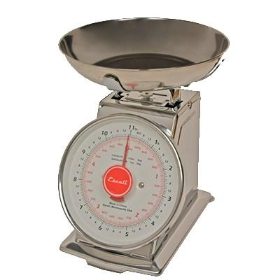 "San Jamar SCDLB11 Escali 11 Lb Dial Scale With Removable Bowl, 6"" X 6"", Stainless"