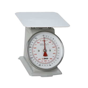 "Winco SCAL-62 Receiving/Portion Scale, 6-1/2"" dial, 2lb/1kg x 1/4 oz./5g graduation, 7-7/8"" steel platform, easy-to-read dial, painted steel"