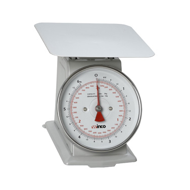 "Winco SCAL-66 Receiving/Portion Scale, 6-1/2"" dial, 6lb/3kg x 1/2oz./10g graduation, 7-7/8"" steel platform, easy-to-read dial, painted steel"