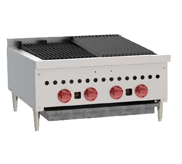 "Wolf SCB25 Charbroiler, 25-1/4"" W, countertop, (4) 14,500 BTU burners, manual gas valve controls, 58,000 BTU, CSA, NSF"