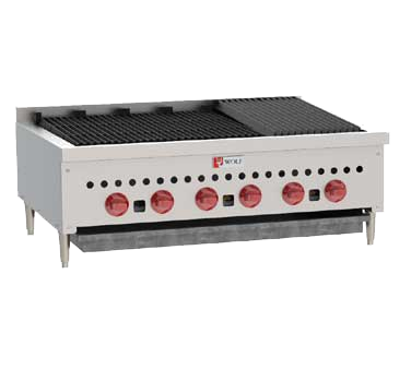 "Wolf SCB36 Charbroiler, 36-1/8"" W, countertop, (6) 14,500 BTU burners with standing pilots and cast iron radiants, manual gas valve controls, 87,000 BTU, CSA, NSF"