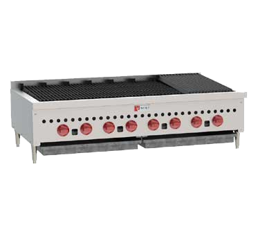 "Wolf SCB47 Charbroiler, 46-3/4"" W, countertop, (8) 14,500 BTU burners, manual gas valve controls, 116,000 BTU, CSA, NSF"