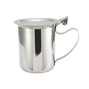 Winco SCT-10F Server/Creamer, 10 oz., with cover, stackable, handle, stainless steel