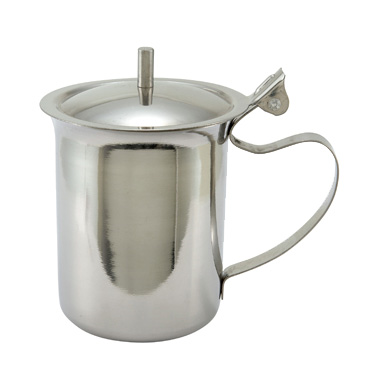 Winco SCT-10 Server/Creamer, 10 oz., cover with knob, handle, stainless steel