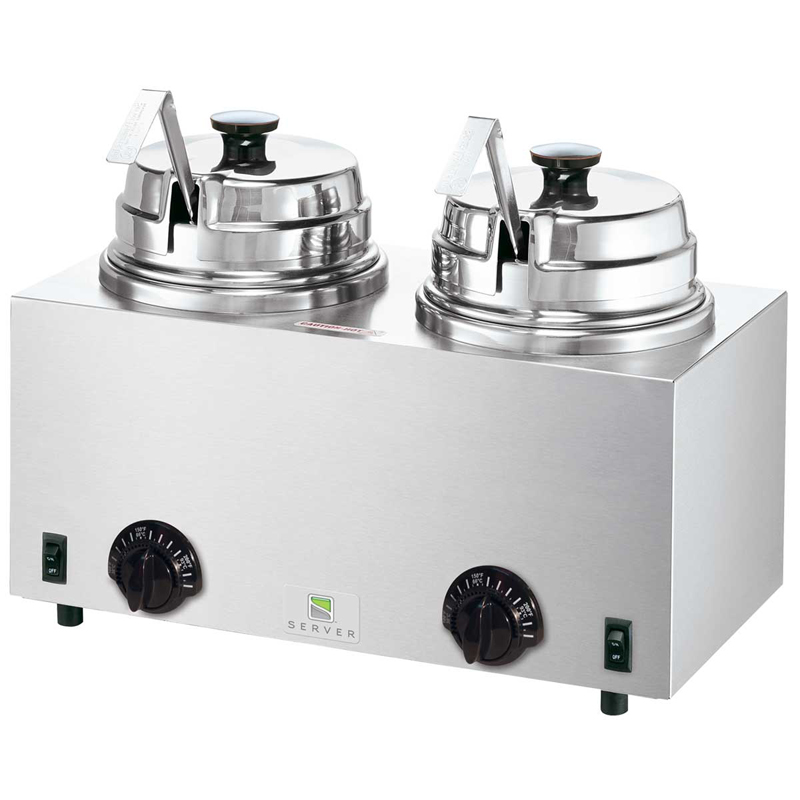 Server Products 81220  Twin FS topping warmer with ladles, rethermalizing, 1kW, 120v/60/1-ph, 8.3 amps, cord, NEMA 5-15P, CE, cULus, NSF