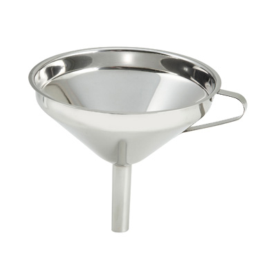 "Winco SF-5 Funnel, 5"", wide mouth, stainless steel, mirror finish"
