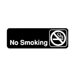 "Winco SGN-310 No Smoking Sign - Black and White, 9"" x 3"""