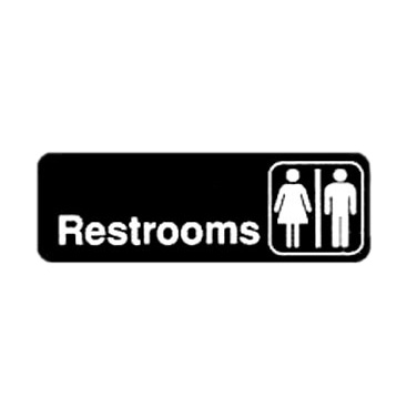 "Winco SGN-313 Black and White Unisex Restrooms Sign 9"" x 3"""