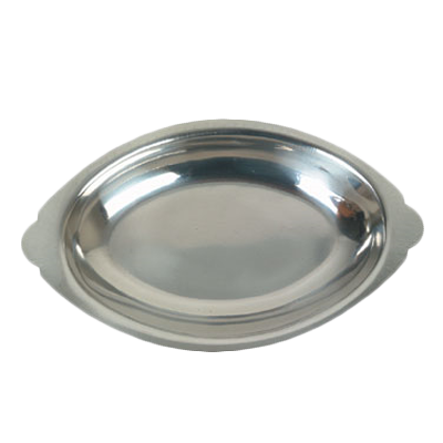 Thunder Group SLGT012 Au Gratin Dish, oval, 12 oz. capacity, crumb groove, stainless steel, mirror-finish
