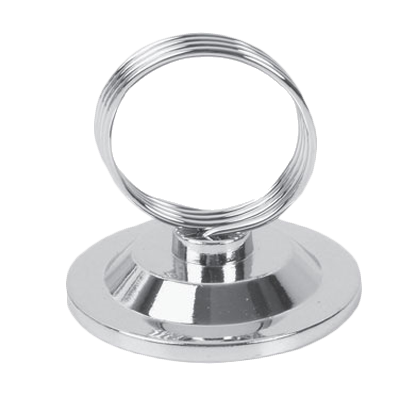 "Thunder  SLMH002A Menu/Card Clip, 2-1/2""H, ring style, round flat base stainless steel"