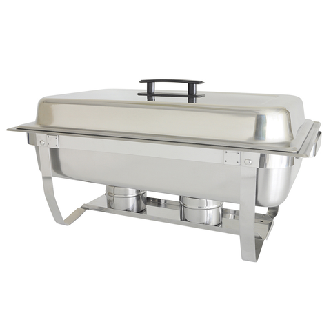 Thunder  SLRCF001F Chafer, 8 quart, full-size, with folding stand, welded frame, lift-off cover with plastic handle, duel fuel holder, stainless steel, mirror-finish