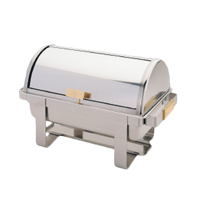 Thunder Group SLRCF0171G Chafer, 8 quart, roll-top cover, dripless water pan, 2 fuel holders, gold handles, stainless steel, mirror-finish
