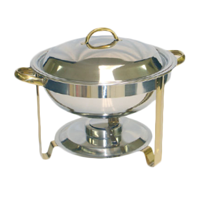 Thunder  SLRCF0831GH Chafer, 4 quart, round, lift-off cover, fuel holder, gold accents, stainless steel