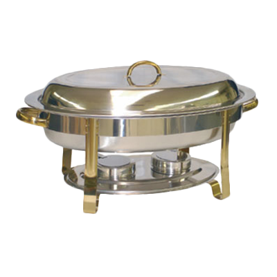 Thunder  SLRCF0836GH Chafer, 6 quart, oval, lift-off cover, dual fuel holder slots, gold accents, stainless steel