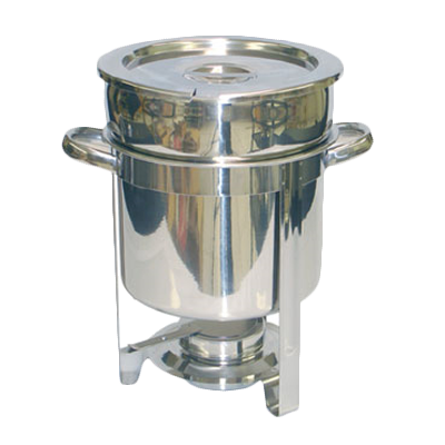 "Thunder  SLRCF8307 Marmite Chafer, 7 quart, 12-1/2"" x 9-1/4"" x 13-1/4""H, round, welded frame, lift-off lid, water pan, fuel holder, stainless steel, mirror-finish"