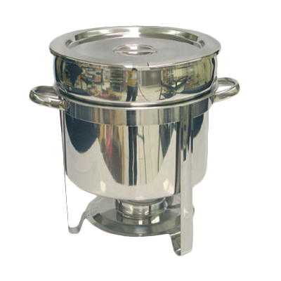 "Thunder  SLRCF8311 Marmite Chafer, 11 quart, 14-1/2"" x 11-1/8"" x 13-1/4""H, round, welded frame, lift-off lid, water pan, fuel holder, stainless steel, mirror-finish"