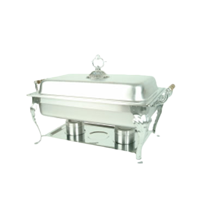 Thunder  SLRCF8532 Deluxe Chafer, 8 quart, full-size, a water pan, food pan, lift-off lid, chafer rack, fuel holder, and fuel plate, wood handles, stainless steel