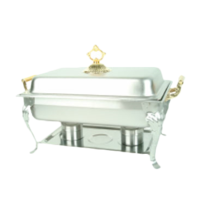 Thunder  SLRCF8533 Deluxe Chafer, 8 quart, full-size, a water pan, food pan, lift-off lid, chafer rack, fuel holder, and fuel plate, brass handles, stainless steel