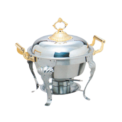 Thunder  SLRCF8633 Deluxe Chafer, 5 quart, half-size round, lift-off dome cover, brass plated handles, stainless steel, mirror-finish