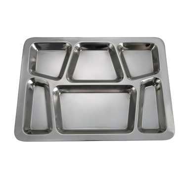 "Winco SMT-2 Mess Tray, 6 compartments, 15-1/2"" x 11-1/2"", Style B, rectangular, dishwasher safe, stainless steel, mirror finish"