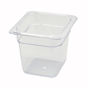 "Winco SP7606 Poly-Ware™ Food Pan, 1/6 size, 6-3/4"" x 6-1/4"", 5-1/2"" deep, -40°F to 210°F temp. range, dishwasher safe, break-resistant polycarbonate, NSF"