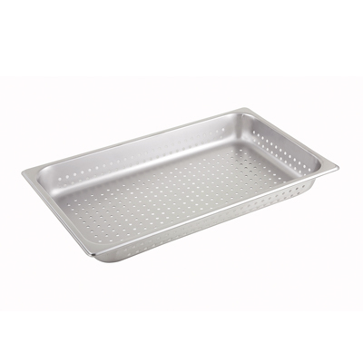 "Winco SPFP2 Steam Table Pan, full size, 2-1/2"" deep, perforated, 25 gauge, stainless steel, NSF"