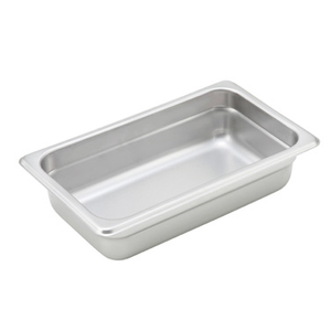 "Winco SPJH-402 Steam Table Pan, 1/4 size, 10-5/6"" x 6-5/16"" x 2-1/2"" deep, 22 gauge heavy weight, anti-jamming, 18/8 stainless steel, NSF"