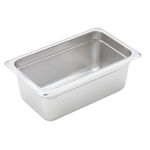 "Winco SPJH-404 Steam Table Pan, 1/4 size, 10-5/6"" x 6-5/16"" x 4"" deep, 22 gauge heavy weight, anti-jamming, 18/8 stainless steel, NSF"