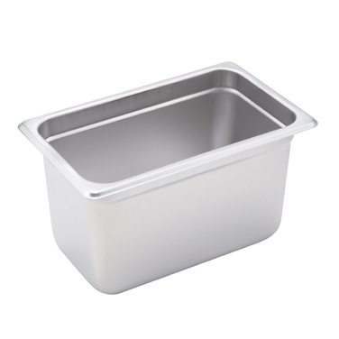 "Winco SPJH-406 Steam Table Pan, 1/4 size, 10-5/6"" x 6-5/16"" x 6"" deep, 22 gauge heavy weight, anti-jamming, 18/8 stainless steel, NSF"