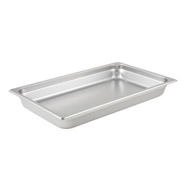 "Winco SPJL-102 Steam Table Pan, full size, 20-3/4"" x 12-3/4"" x 2-1/2"" deep, 25 gauge standard weight, anti-jamming, 18/8 stainless steel, NSF"