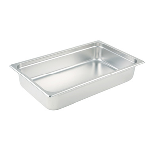 "Winco SPJL-104 Steam Table Pan, full size, 20-3/4"" x 12-3/4"" x 4"" deep, 25 gauge standard weight, anti-jamming, 18/8 stainless steel, NSF"