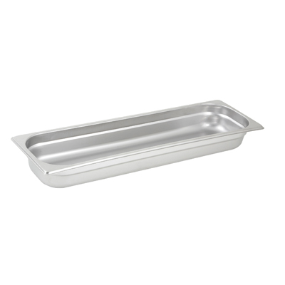 "Winco SPJL-2HL Steam Table Pan, 1/2 size long, 2-1/2"" deep, 25 gauge standard weight, anti-jamming, stainless steel, NSF"