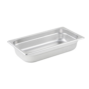 "Winco SPJL-302 Steam Table Pan, 1/3 size, 6-7/8"" x 12-3/4"" x 2-1/2"" deep, 25 gauge standard weight, anti-jamming, 18/8 stainless steel, NSF"