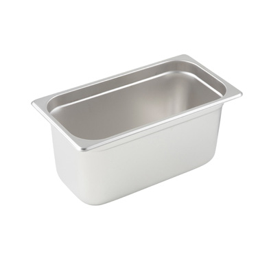 "Winco SPJL-306 Steam Table Pan, 1/3 size, 6-7/8"" x 12-3/4"" x 6"" deep, 25 gauge standard weight, anti-jamming, 18/8 stainless steel, NSF"