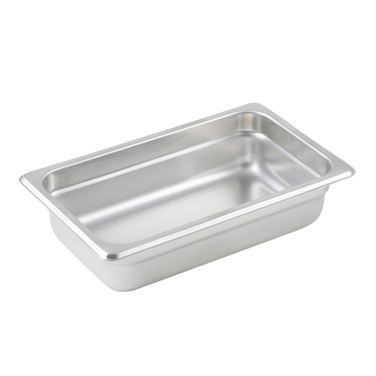 "Winco SPJL-402 Steam Table Pan, 1/4 size, 10-5/6"" x 6-5/16"" x 2-1/2"" deep, 25 gauge standard weight, anti-jamming, 18/8 stainless steel, NSF"