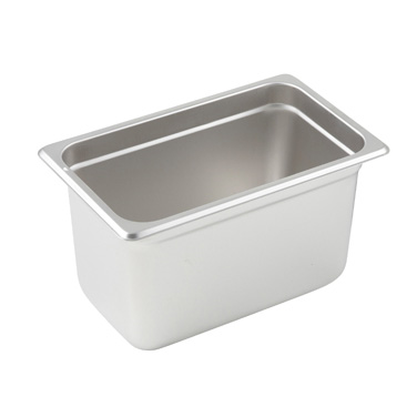 "Winco SPJL-406 Steam Table Pan, 1/4 size, 10-5/6"" x 6-5/16"" x 6"" deep, 25 gauge standard weight, anti-jamming, 18/8 stainless steel, NSF"