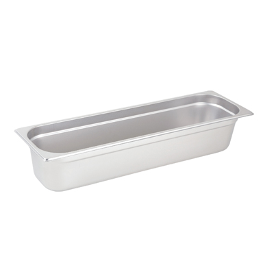 "Winco SPJL-4HL Steam Table Pan, 1/2 size long, 4"" deep, 25 gauge standard weight, anti-jamming, stainless steel, NSF"