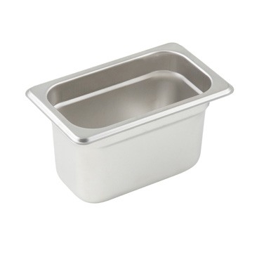 "Winco SPJL-902 Steam Table Pan, 1/9 size, 6-3/4"" x 4-1/4"" x 2-1/2"" deep, 25 gauge standard weight, anti-jamming, 18/8 stainless steel, NSF"