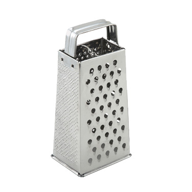 "Winco SQG-1 Grater, 4"" x 3"" x 9"", tapered, with handle, stainless steel"
