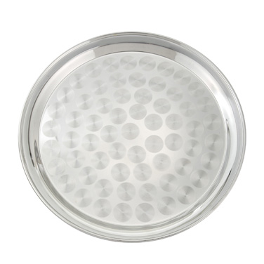 "Winco STRS-12 Swirl Service Tray, 12"" dia., round, with swirl design, stainless steel, polished finish"
